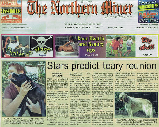 The Northern Miner, Charters Towers, front page feature, Finding Beau, Stolen Dog