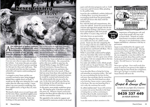 Paws & Claws Pet and Wildlife Journal, Gold Coast, Finding Beau, Stolen Dog, Never giving up hope