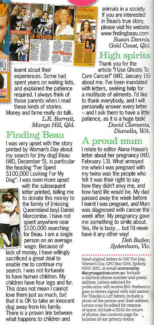 Womans Day, National magazine, Channel 9, Letter to the Editor, Finding Beau, Stolen Dog