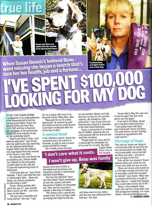 Womans Day, National Magazine, Channel 9, Finding Beau, Stolen Dog